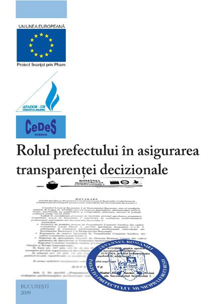 Rolul prefectului în asigurarea transparentei decizionale